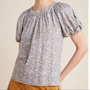 Anthropologie Maeve Animal Print Puff Sleeved Top